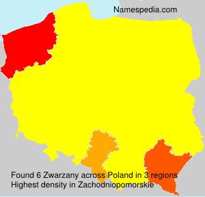 Surname Zwarzany in Poland