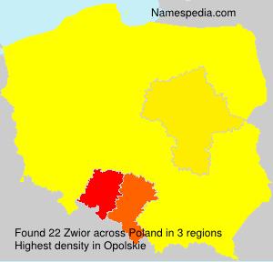 Surname Zwior in Poland