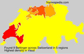 Surname Bettinger in Switzerland