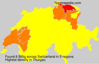 Surname Billig in Switzerland