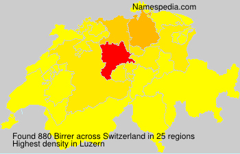 Surname Birrer in Switzerland