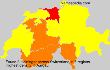 Surname Heininger in Switzerland