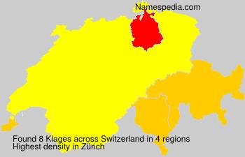 Surname Klages in Switzerland