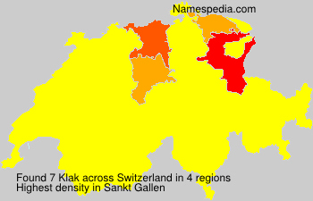Surname Klak in Switzerland