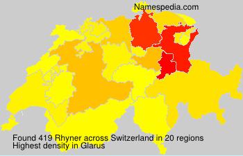 Surname Rhyner in Switzerland