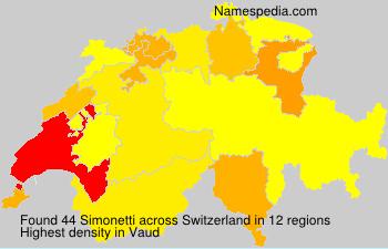 Surname Simonetti in Switzerland