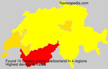 Surname Zwissig in Switzerland