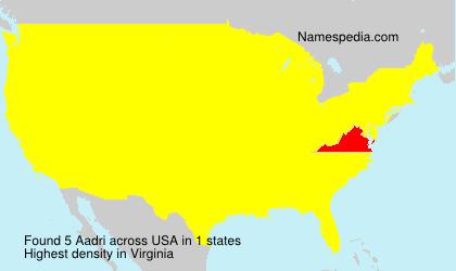 Familiennamen Aadri - USA