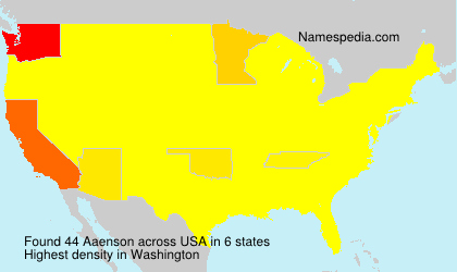 Surname Aaenson in USA