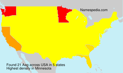 Familiennamen Aag - USA
