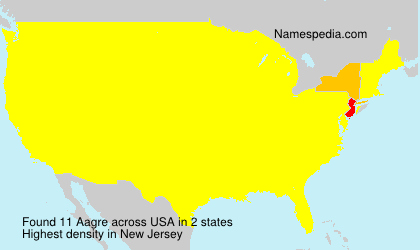 Surname Aagre in USA