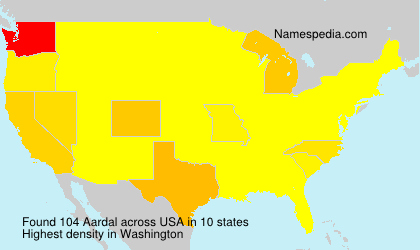 Surname Aardal in USA