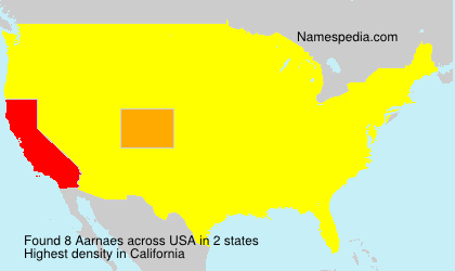 Surname Aarnaes in USA