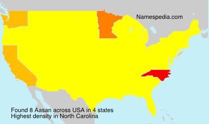 Surname Aasan in USA