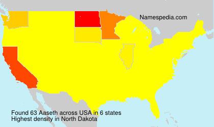 Familiennamen Aaseth - USA