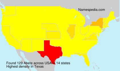 Familiennamen Abete - USA