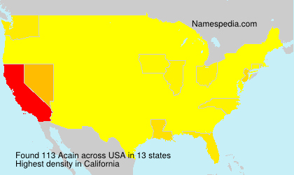 Surname Acain in USA