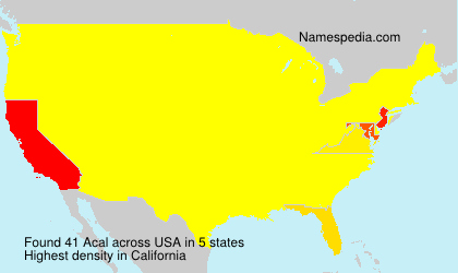 Surname Acal in USA