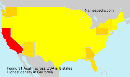 Surname Acalin in USA