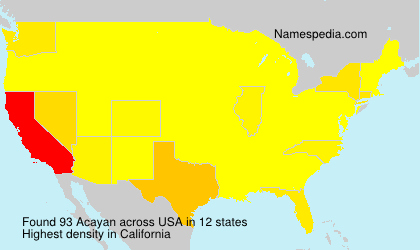 Surname Acayan in USA