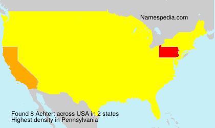 Familiennamen Achtert - USA