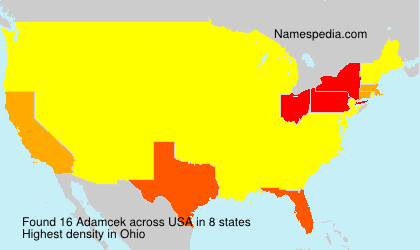 Surname Adamcek in USA