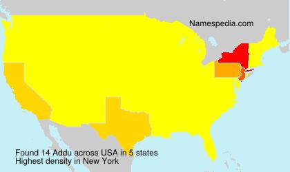Familiennamen Addu - USA