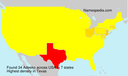 Surname Adeeko in USA