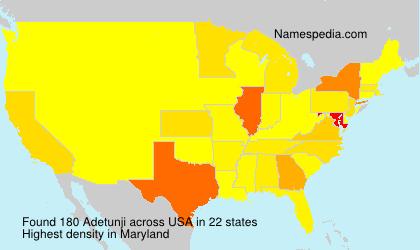 Surname Adetunji in USA