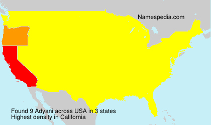 Familiennamen Adyani - USA