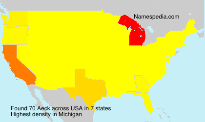 Surname Aeck in USA