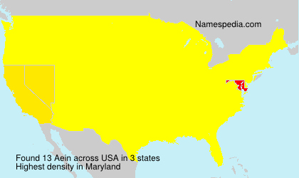 Surname Aein in USA