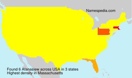 Surname Afanasiew in USA