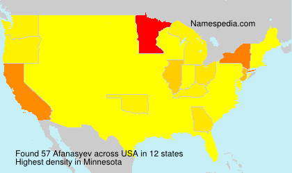 Surname Afanasyev in USA