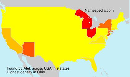 Surname Afek in USA