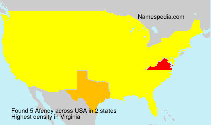 Surname Afendy in USA