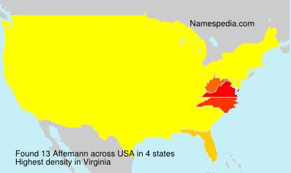 Surname Affemann in USA