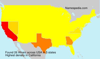 Familiennamen Afnani - USA