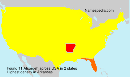 Surname Afsordeh in USA