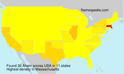 Surname Aham in USA