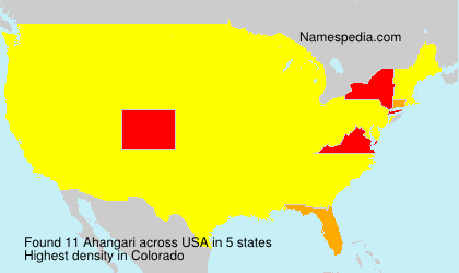Surname Ahangari in USA