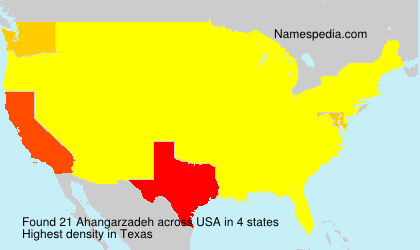 Surname Ahangarzadeh in USA