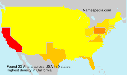 Surname Ahara in USA