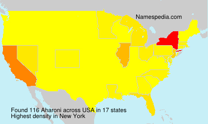 Surname Aharoni in USA
