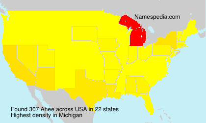 Surname Ahee in USA