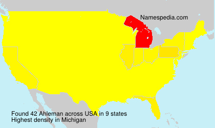 Surname Ahleman in USA