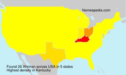Surname Ahrman in USA