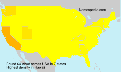 Surname Ahue in USA