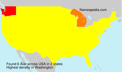 Surname Aiar in USA