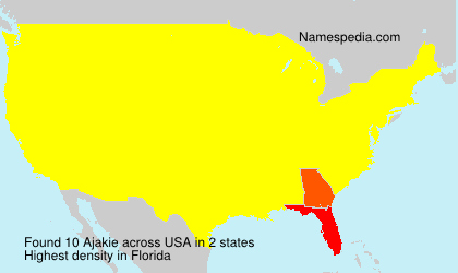 Surname Ajakie in USA